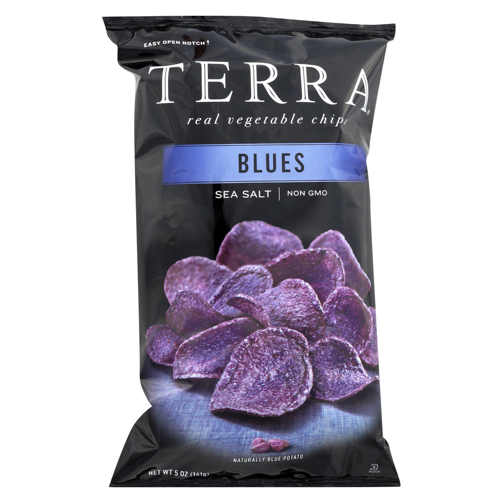 Terra Exotic Vegetable Chips - Blues w/ Sea Salt - Case of 12 - 5 oz.
