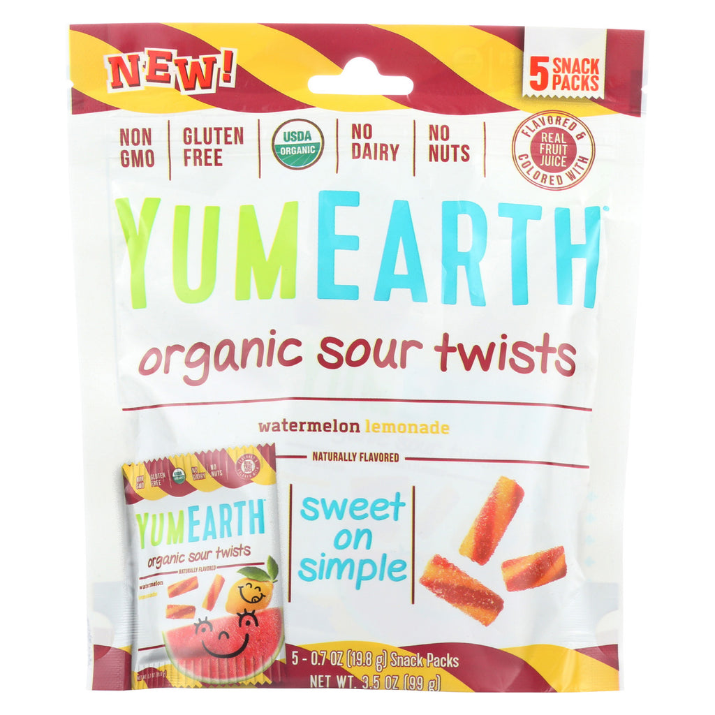 Yum Earth Organics Organic Sour Twist - Watermelon Lemonade - Case of 12 - 3.5 oz