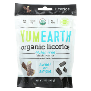 Yum Earth Organics Licorice - Organic Gluten Free Black Licorice - Case of 12 - 5 oz