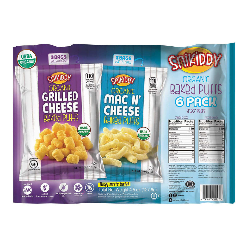 Snikiddy Snacks Organic Corn Puffs - Multipack - Case of 8 - 4.5 oz