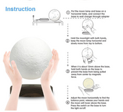 Levitating Moon Lamp - 3D Printed Model -6ich Diameter