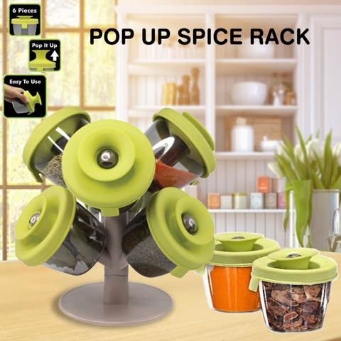 Pop-up Spice Rack (6 Containers with Lids)