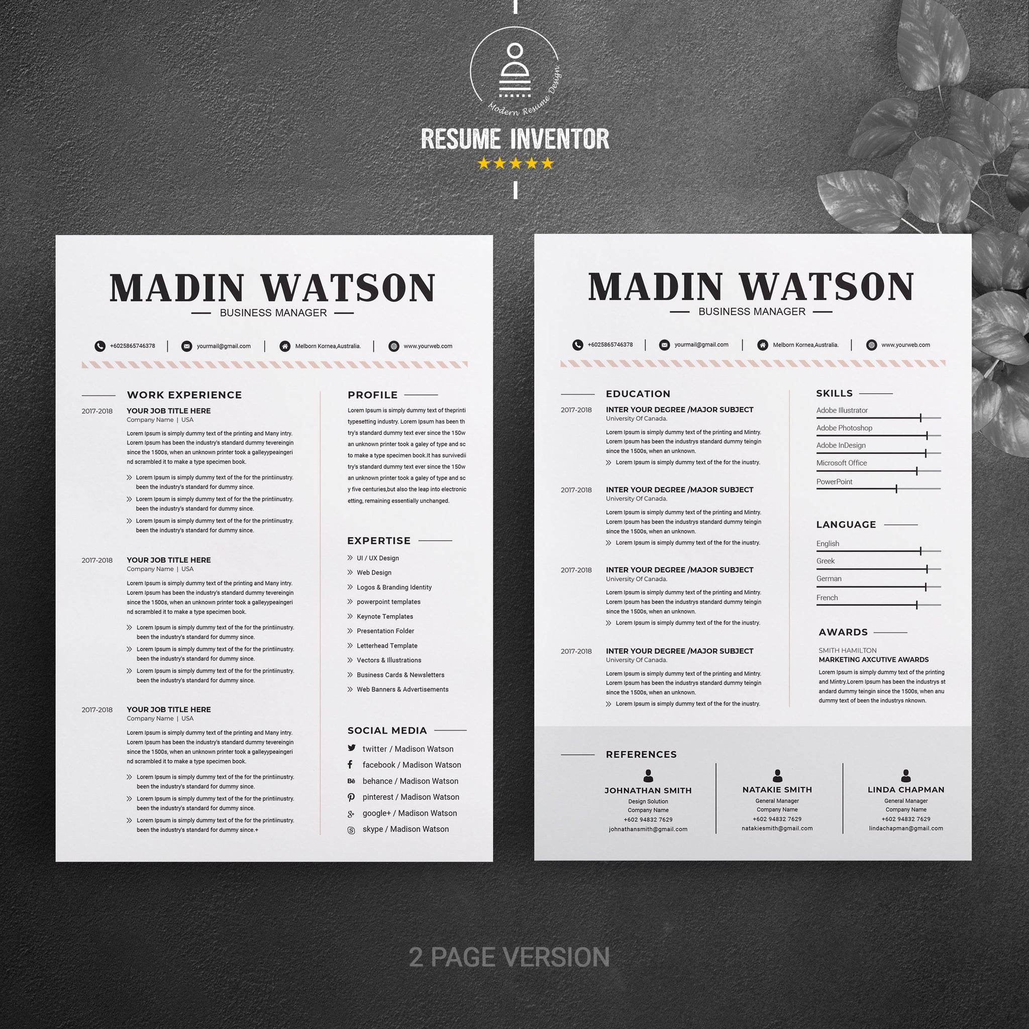 Simple Professional Job Resume Template Cv Resume 2 Pages