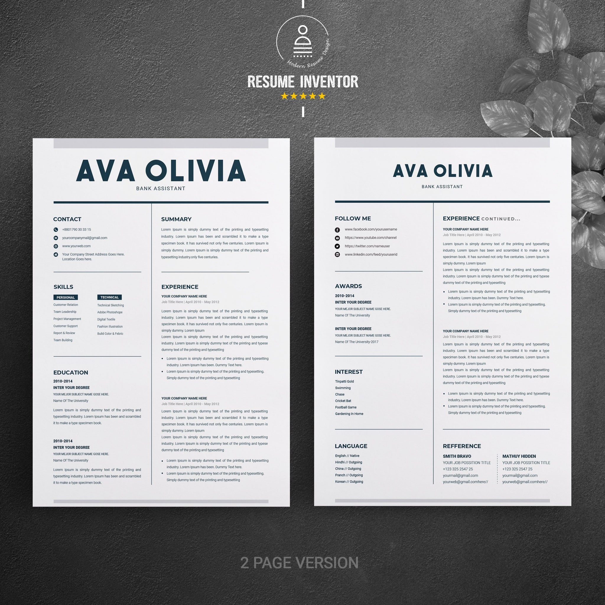 Clean Resume Template Word Cv Design Resume Template Cv Word