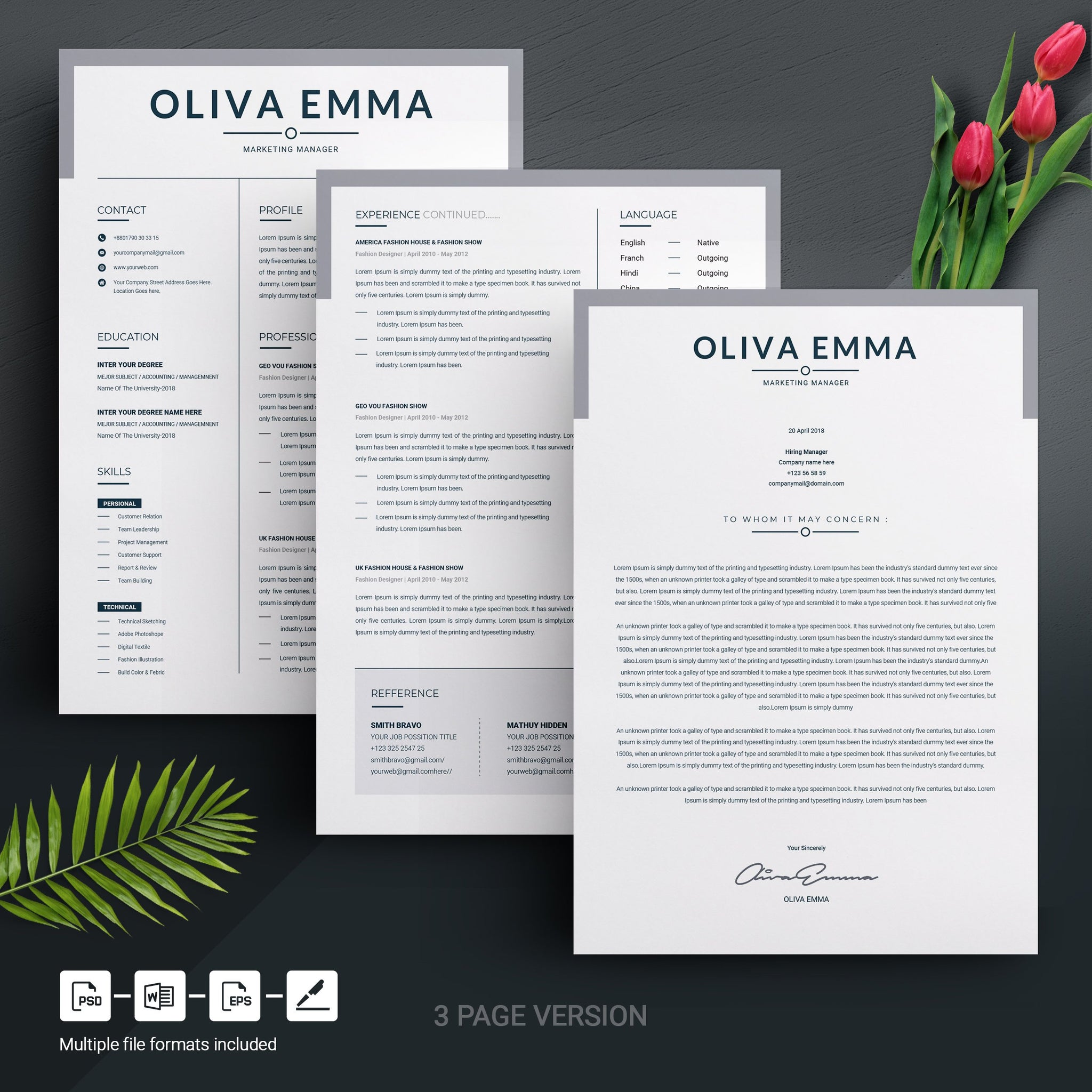 Professional Resume Template / 3 Page CV Template Design + Cover ...