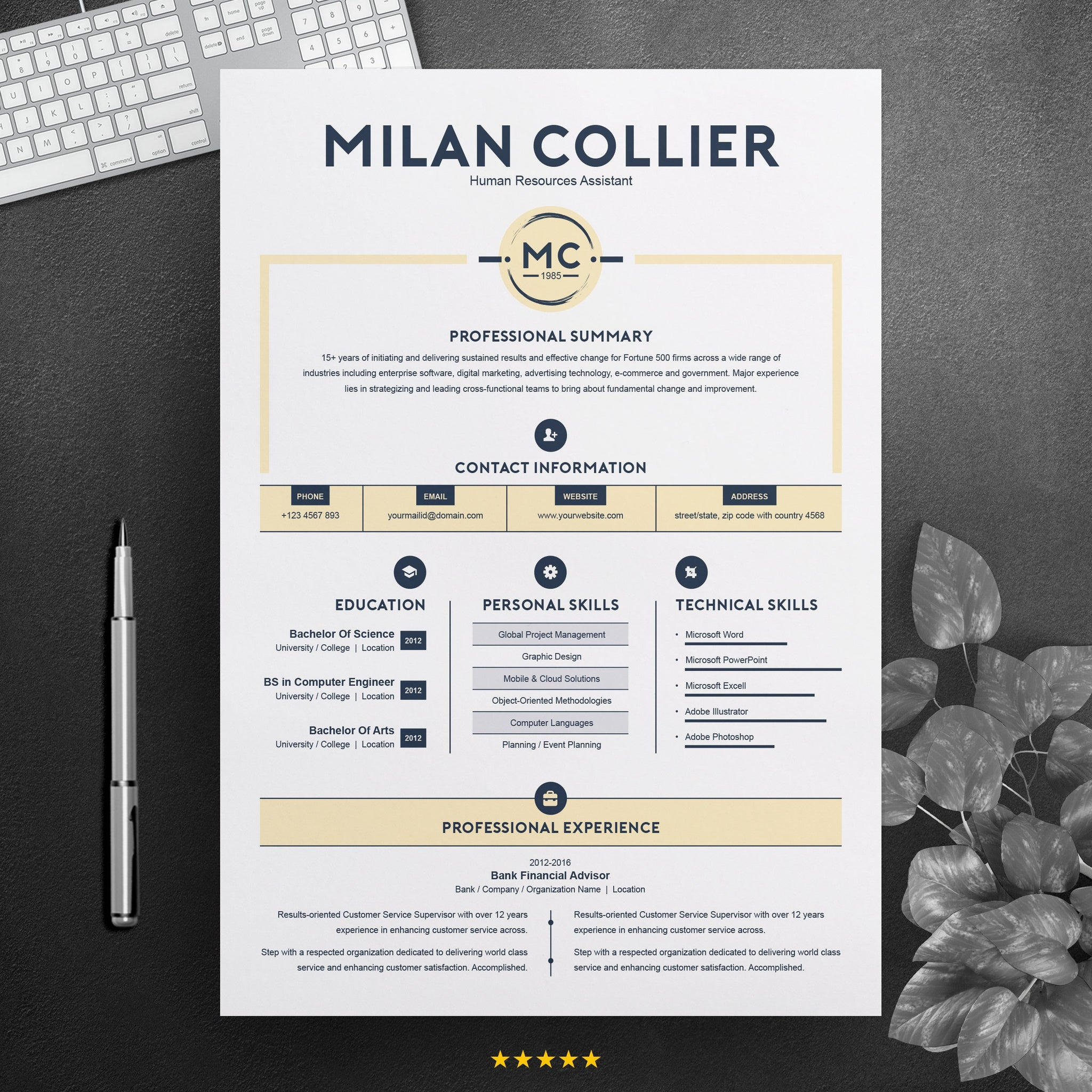 Creative Resume Design Template MS Word CV Template