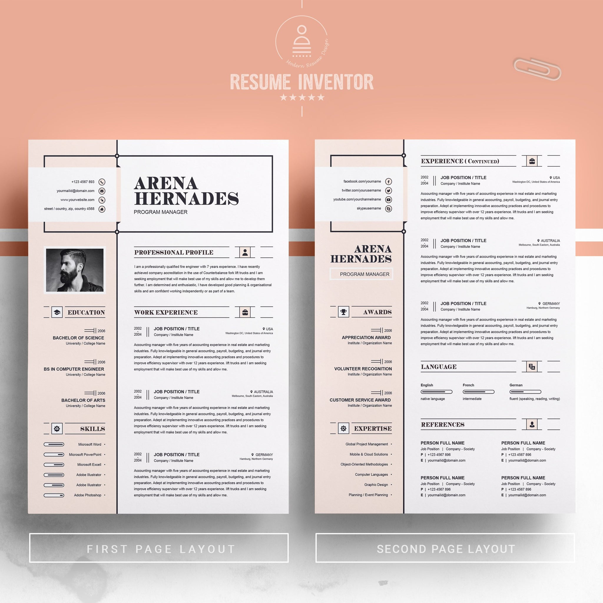 modern and creative professional resume / cv design ms word template