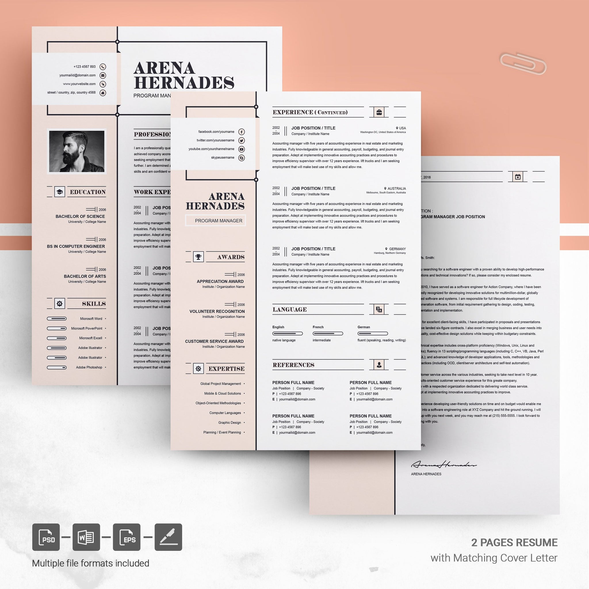 modern and creative professional resume cv design ms word template