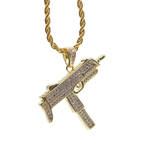 Iced out machine gun pendant necklace in gold mclys jewelry iced out machine gun pendant necklace in gold mozeypictures Images