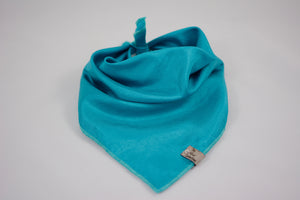 Turquoise Raw Satin Bandana - The Moxie Collection
