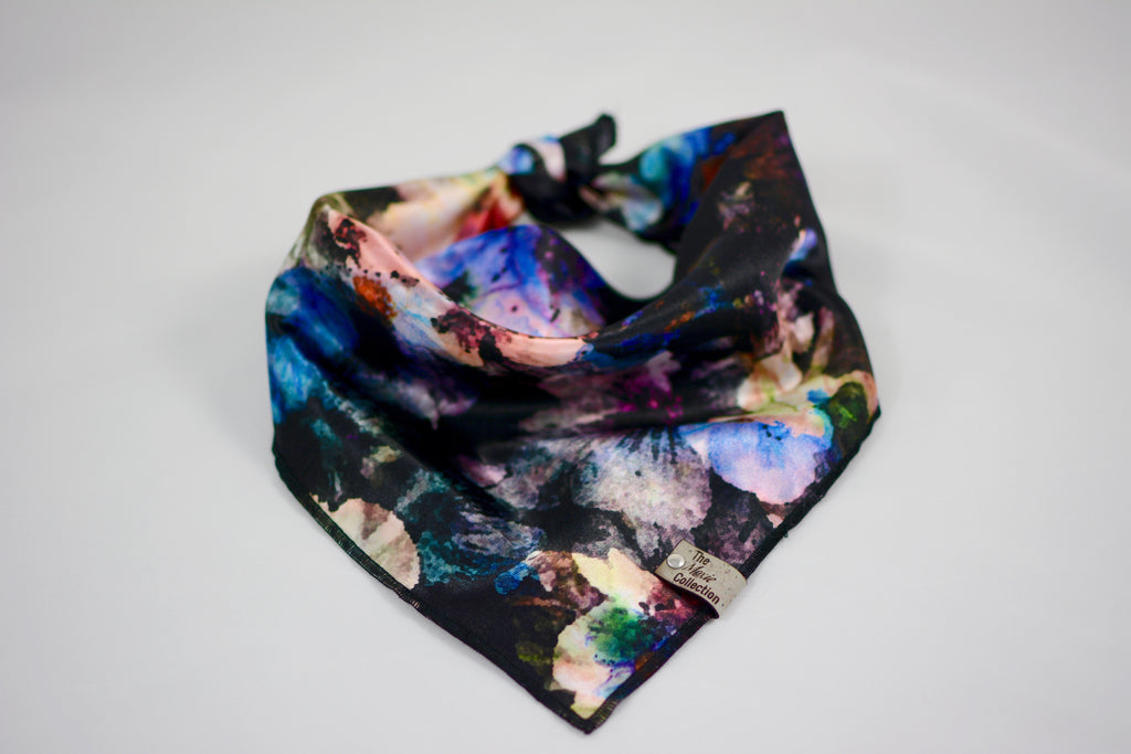 Black Floral Satin Bandana - The Moxie Collection