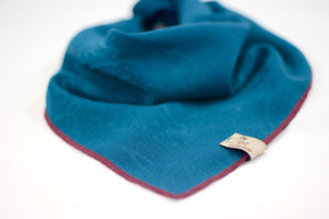 Teal Damask Silk Bandana - The Moxie Collection