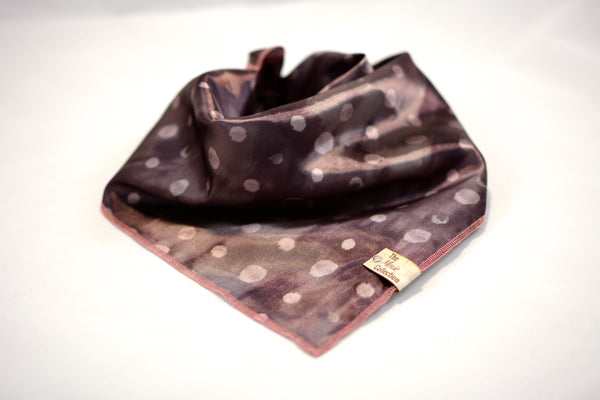 Mauve Polka Dot Satin Bandana - The Moxie Collection