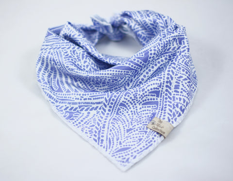 Periwinkle Motif Satin Bandana - The Moxie Collection