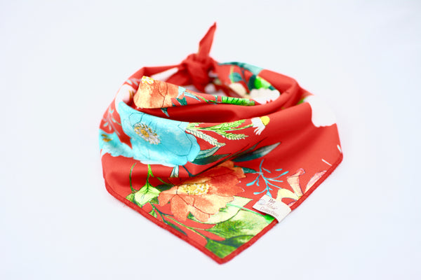 Red Floral Bandana - The Moxie Collection