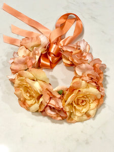 Peach Rose Flower Crown - The Moxie Collection