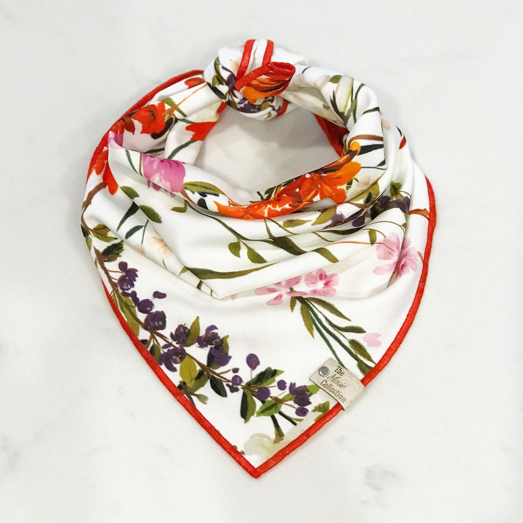 Red Floral Satin Bandana - The Moxie Collection