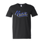 Nick's V Neck T-Shirts (Black Shirt/Blue Design)