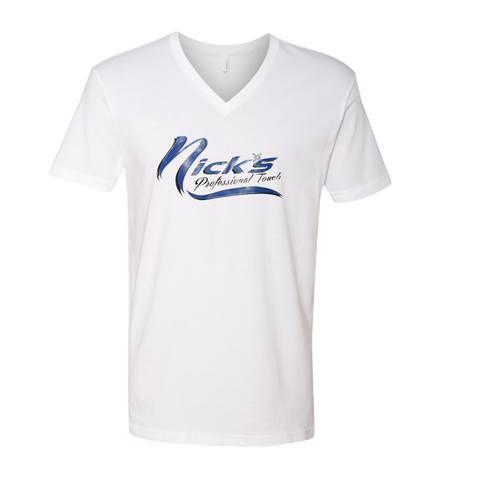 Nick's V Neck T-Shirts (White Shirt/Blue Design)