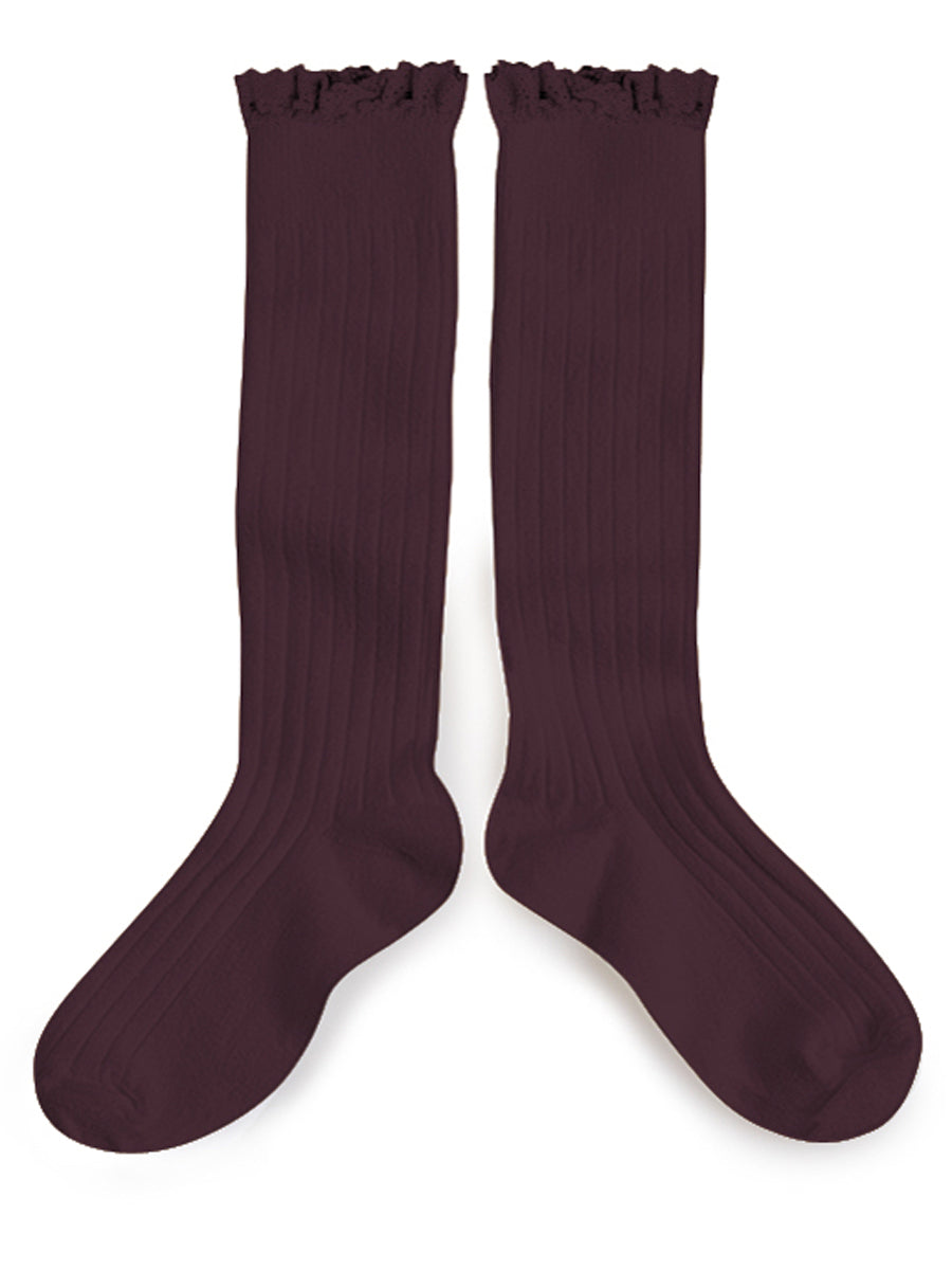 Ruffle Knee High Socks - Aubergine