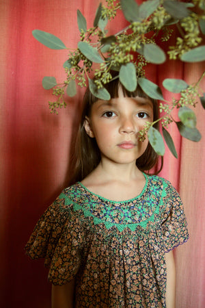 Butterfly Dress With Embroidery And Smocking - Blue Flowers