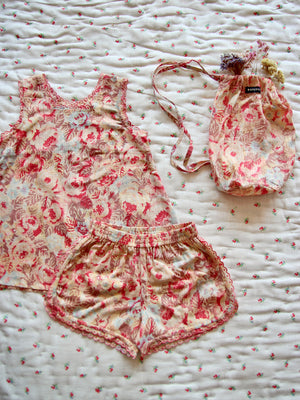 Pyjama Set With Scallop Embroidery - Big Flower