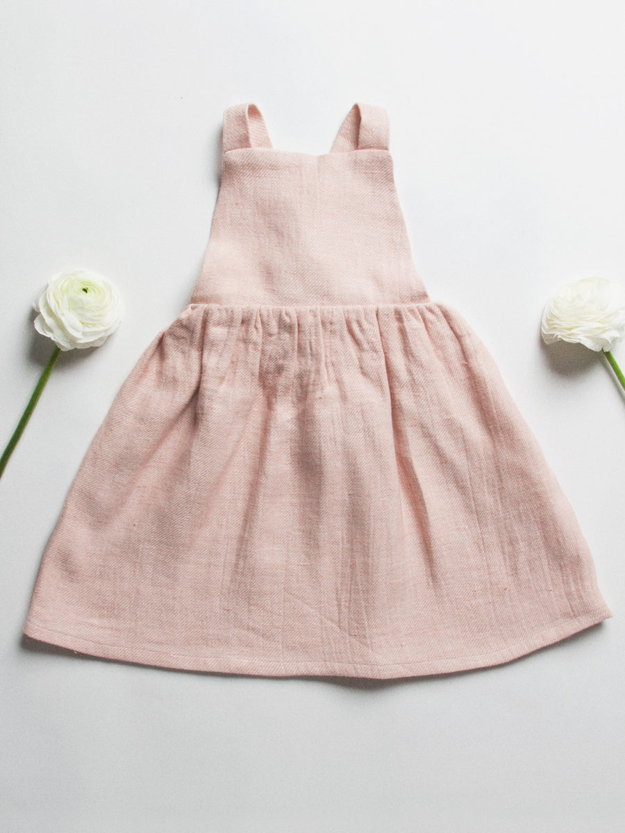 Conkers Pinafore - Pastel Pink Linen