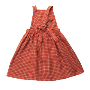 Conkers Pinafore - Rust Check Linen