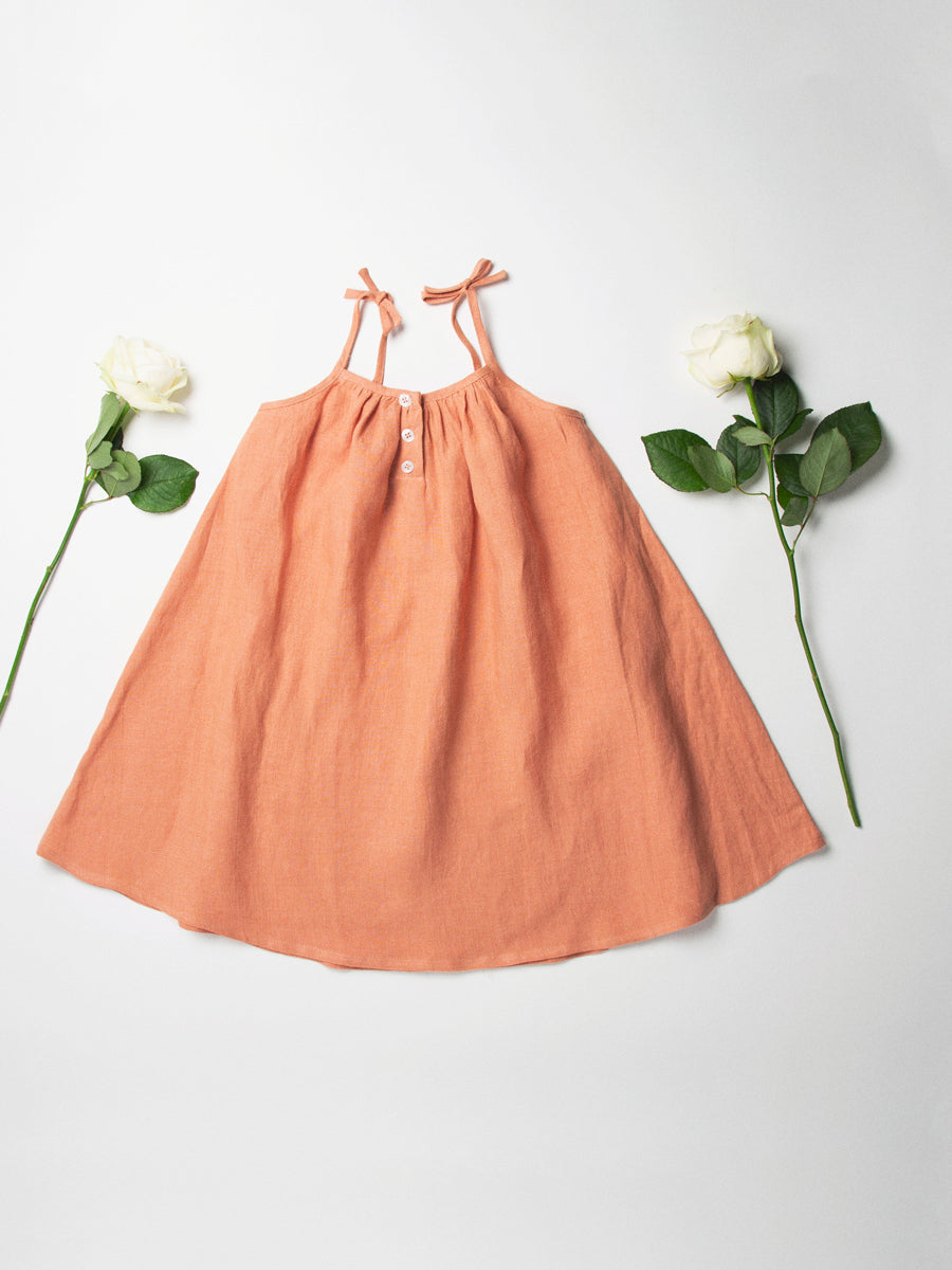 Daisy Chain Dress - Peach Linen