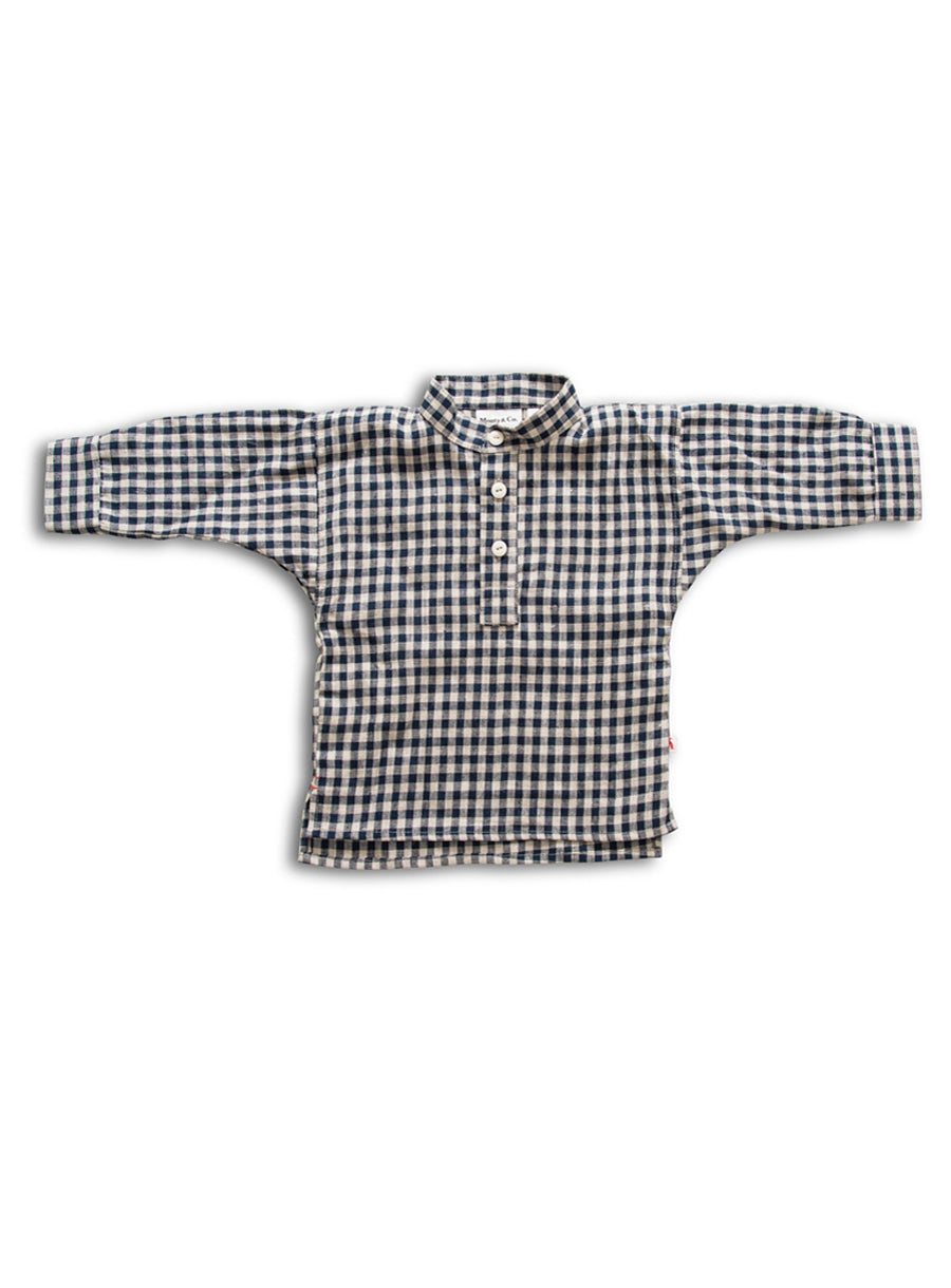 Field Grandad Shirt-Navy Gingham