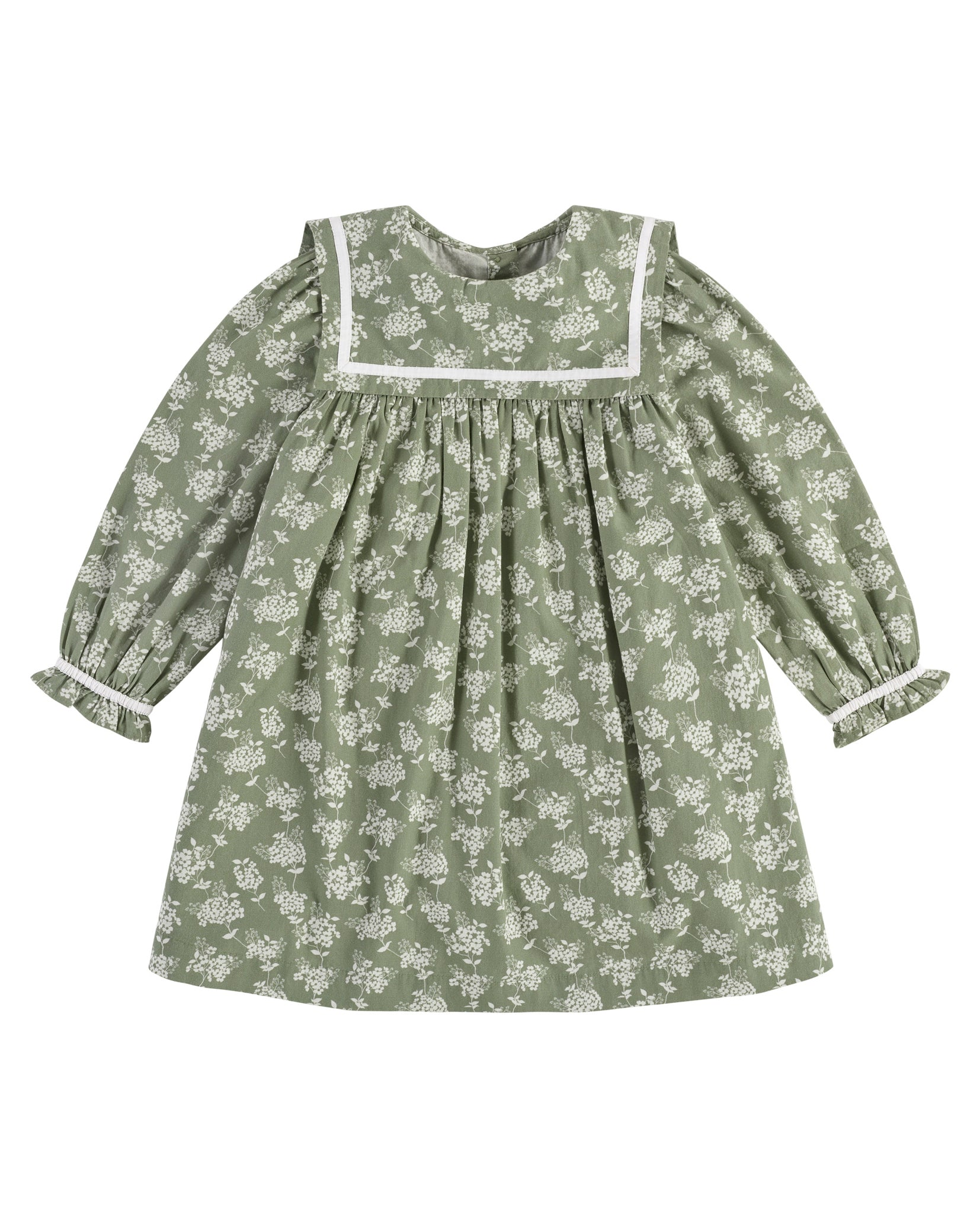 Jemima Sailor Dress - Green Hydrangea Floral