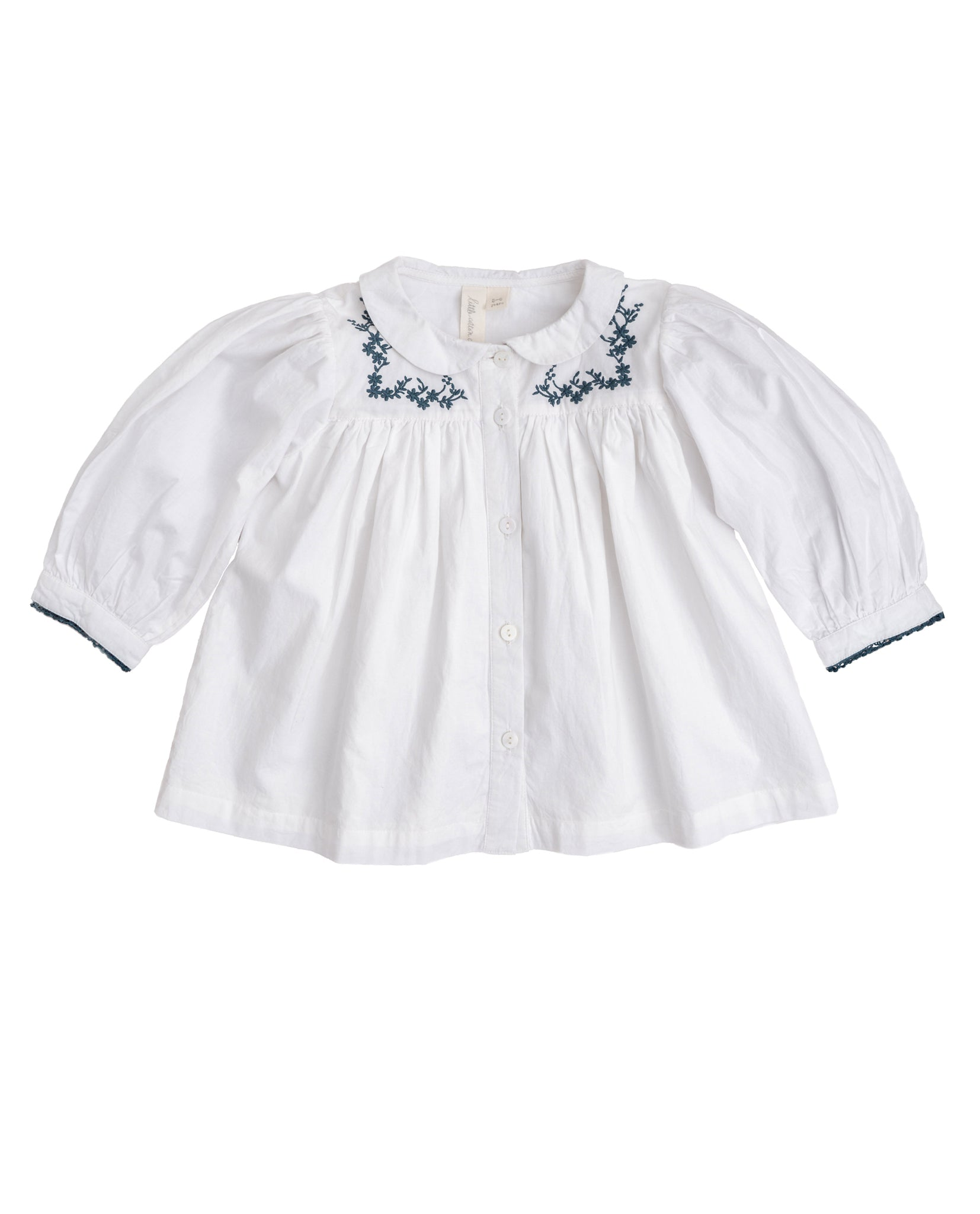 Eleanor Blouse - Off White With Blue Embroidery