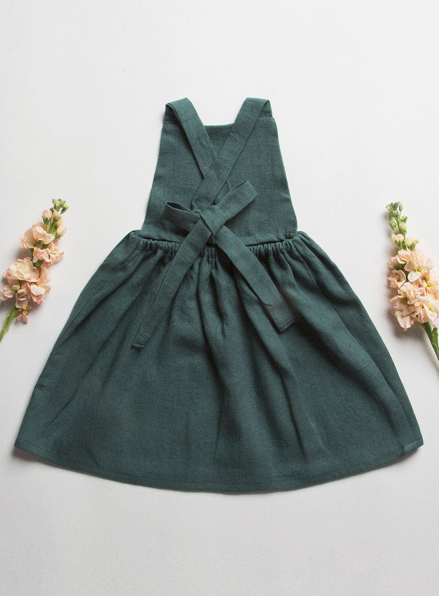 Conkers Pinafore - Forest Green Linen