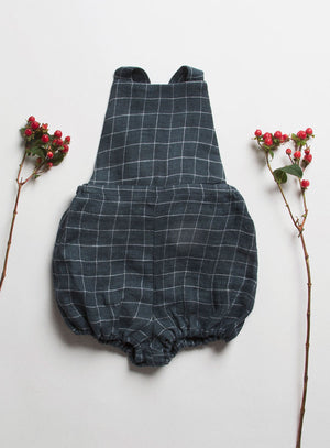 Jump Rope Romper – Charcoal Checked Linen