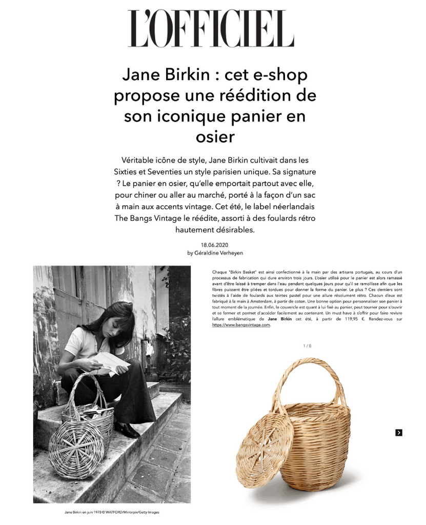 The Bangs Birkin Basket got featured by L'Officiel Belgium!
