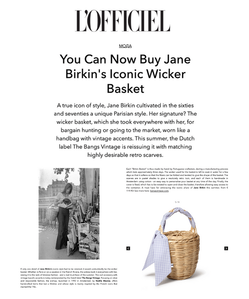 Jane Birkin Basket Bag French Parisienne 籃  Wicker bag Bangs Vintage French accessories Parisienne style Korb cesta em cana Panier de paille Sac en osier Straw bag バスケット L'Officiel Belgium