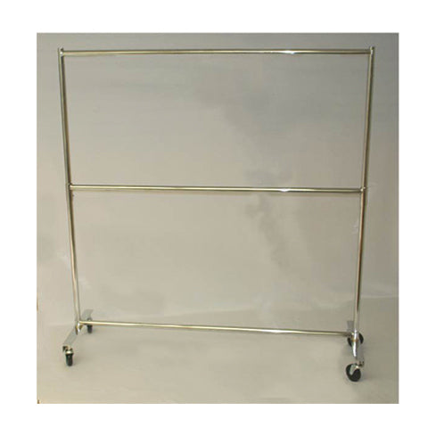"HEAVY DUTY RACK WITH ADJUSTABLE MIDDLE BAR  80""H x 60""L CHROME"