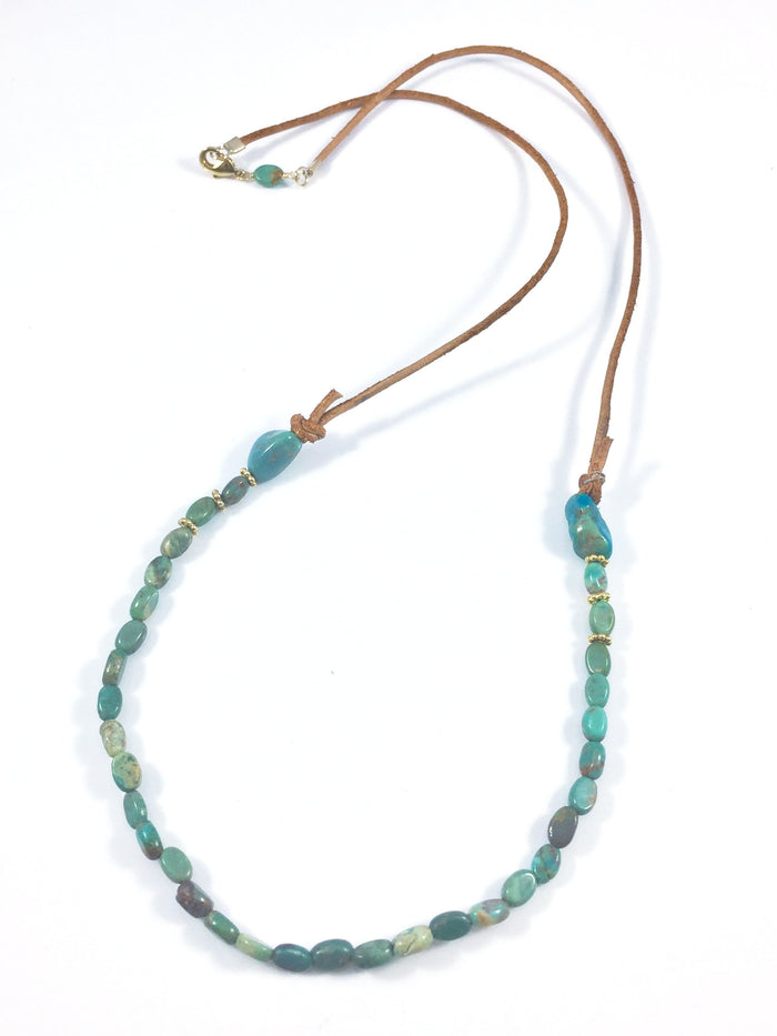 Oval Turquoise & Leather Necklace
