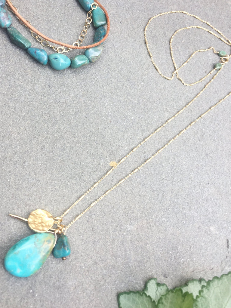 Turquoise Teardrop Cluster Necklace