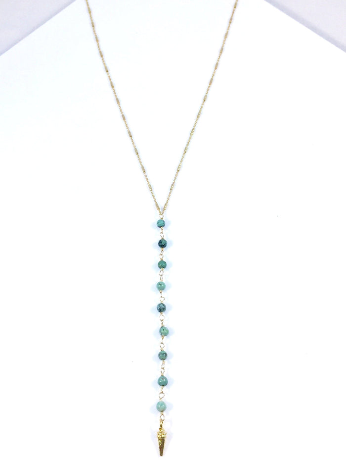 "Turquoise Spike ""Y"" Necklace"