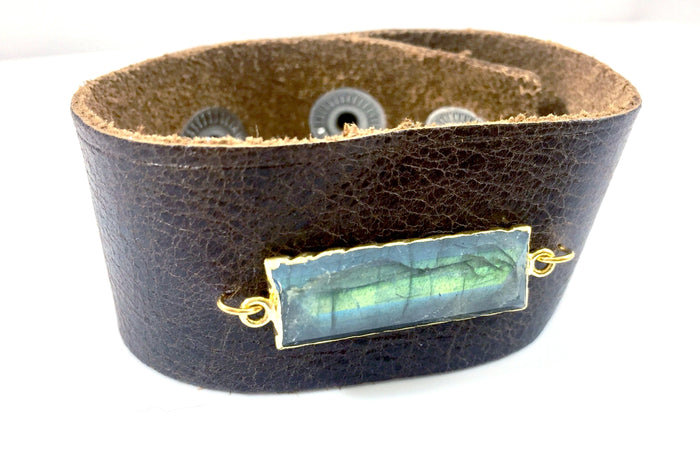 Labradorite Rectangle Leather Cuff Bracelet