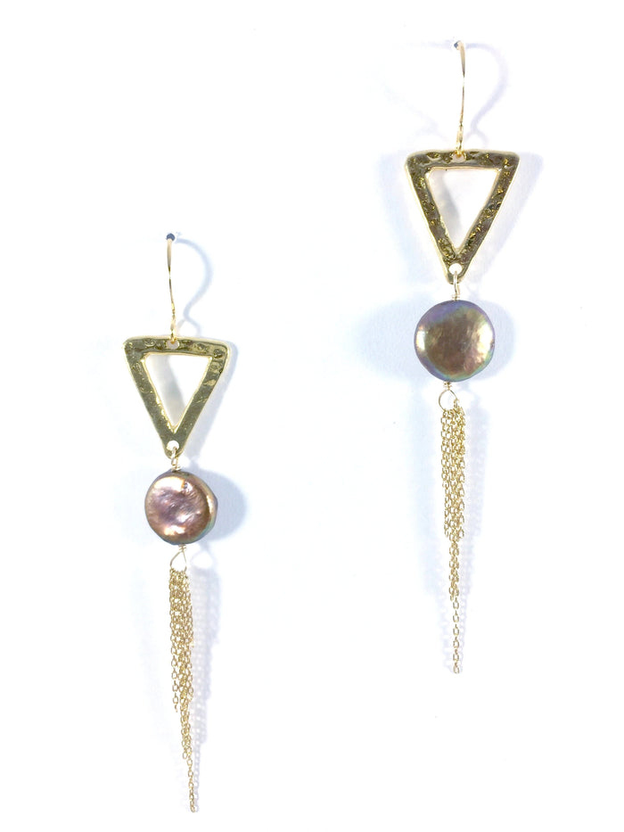 Triangle, Coin Pearl & Tassels Earring