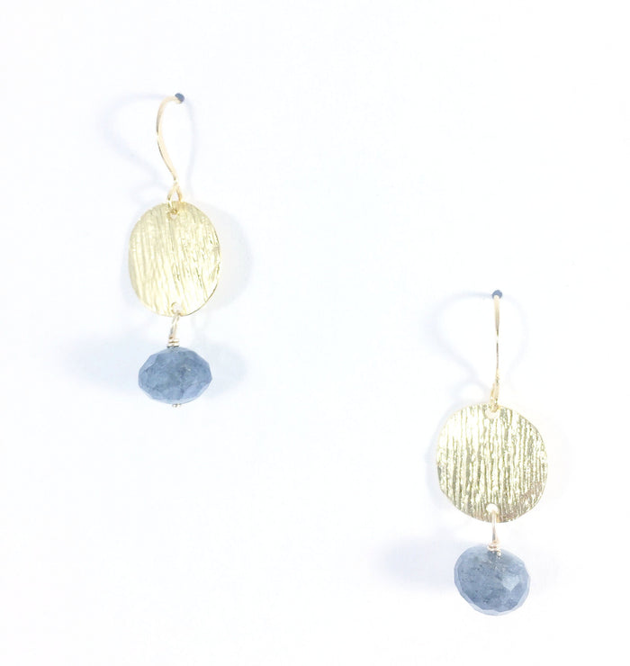 Textured Coin with Labradorite Earring