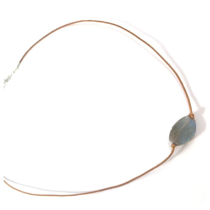 Labradorite on Camel Leather Necklace