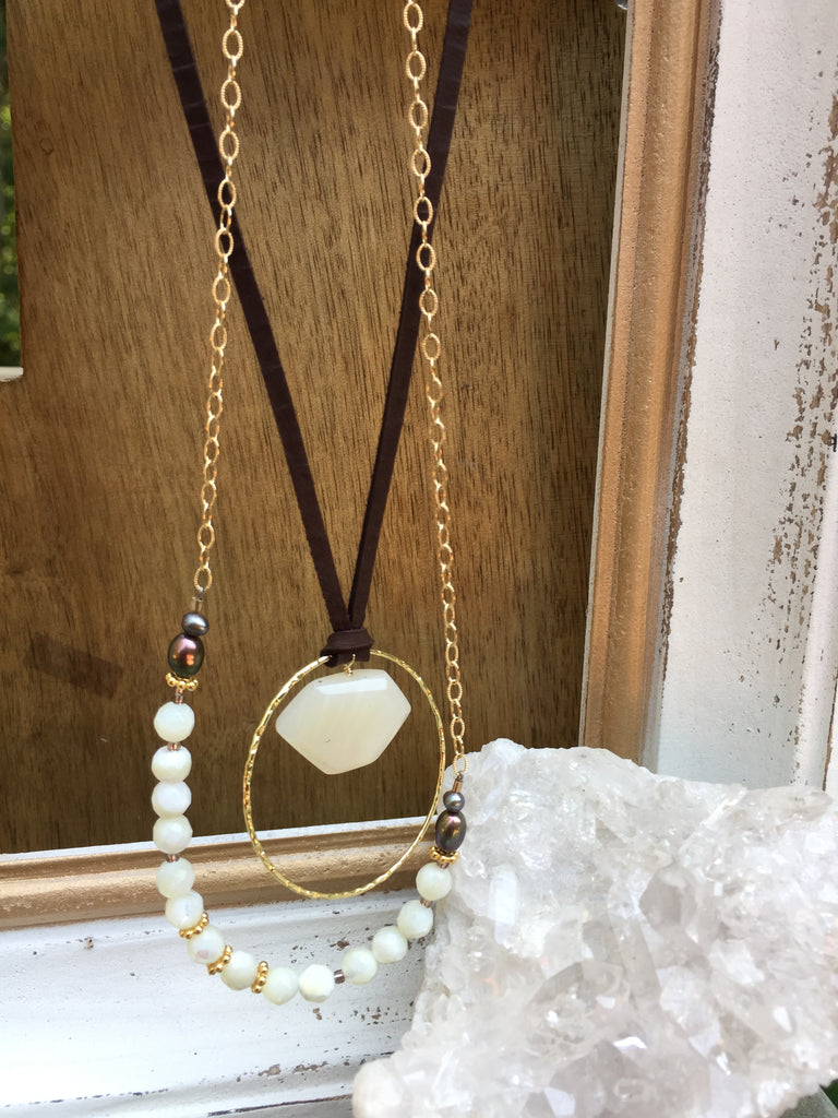 Mother of Pearl Leather Necklace