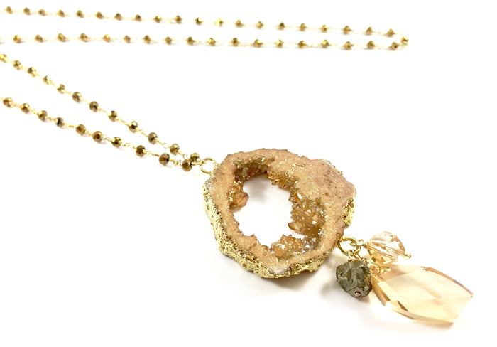 Druzy Electroformed Slab Necklace