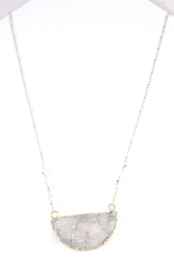 Half-Moon Druzy Necklace