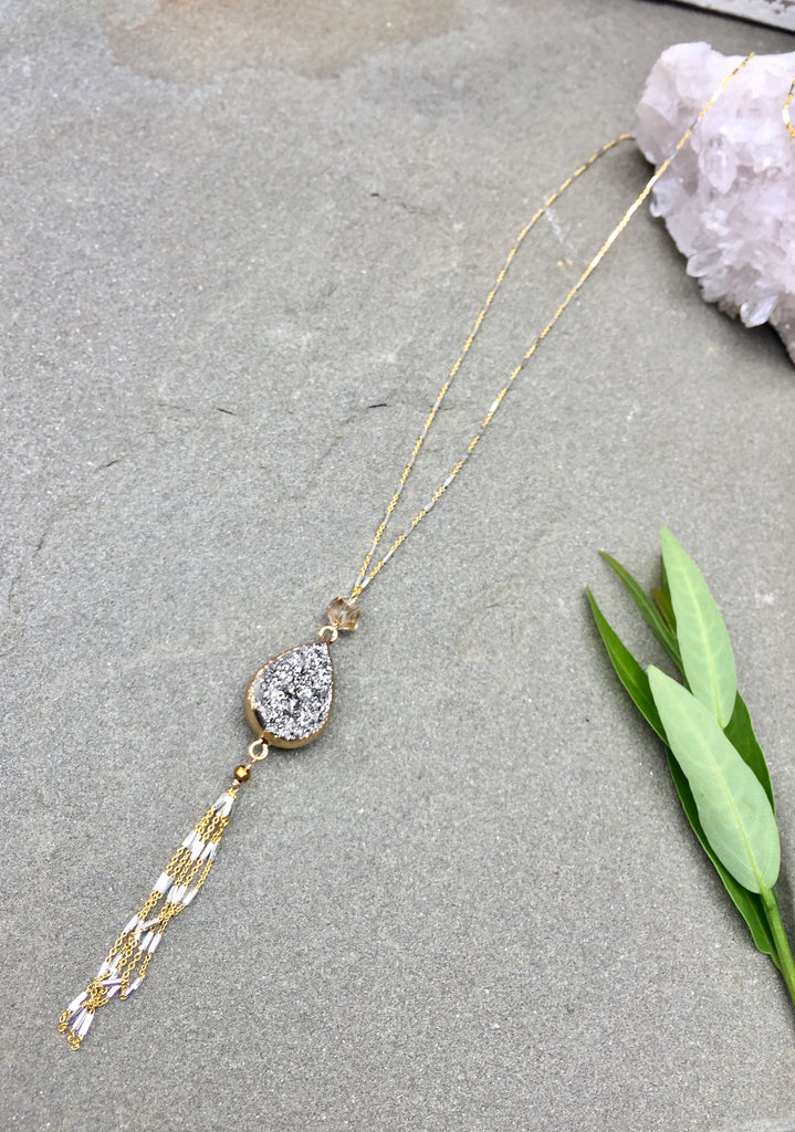 Reversible Druzy Teardrop With Tassel Necklace
