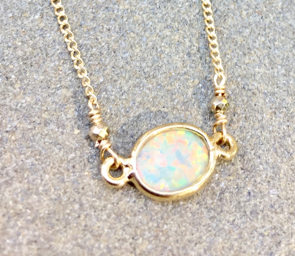 Opal with Pyrite Accents Necklace