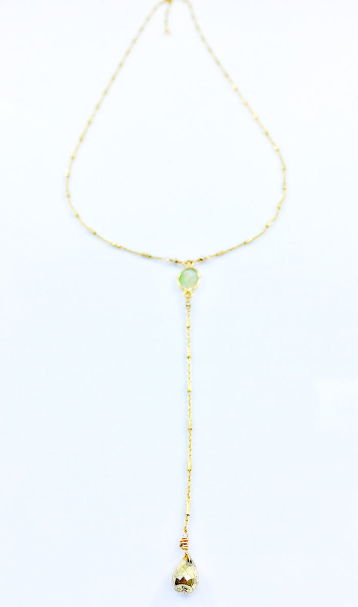 "Opal and Pyrite Briolette ""Y"" Necklace"